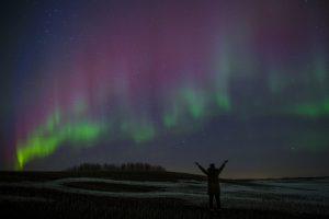 girl admires aurora