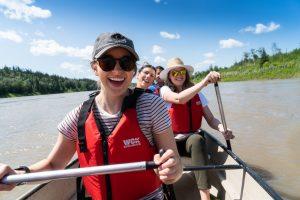 People canoe at Metis Crossing.