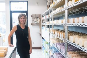 Tanya from Wild Prairies Soap Co. poses in her factory.