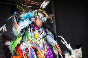 A dancer at the Poundmakers Powwow.