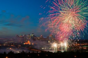 Fireworks go off over downtown Edmonton for New Year's Eve.