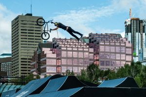 Edmonton Fise Cyclist Stunt In The Air cropped