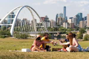 A group of friends having a picnic at Walterdale Hill.