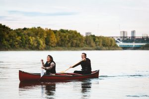 Couple Canoeing on North Saskatchewan River