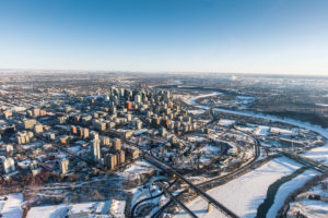 Edmonton skyline scene in the winter