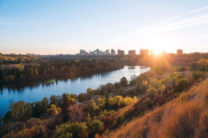 A view of the North Saskatchewan River Valley at sunset.