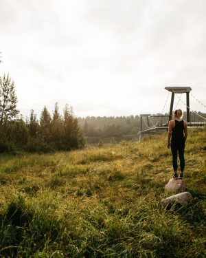 A woman admires view of the North Saskatchewan River Valley.