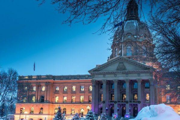 A view of the Alberta Legislature in winter.