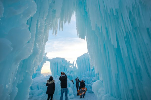 Edmonton Ice Castles Family Admiring Ice 2018
