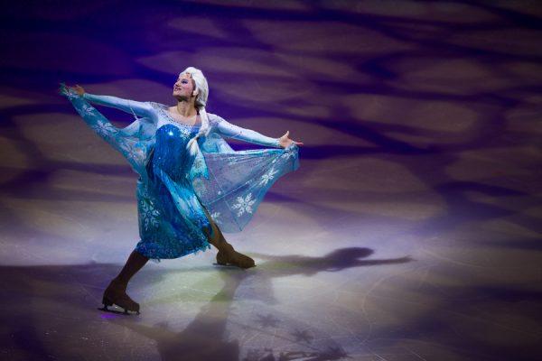 Elsa from Disney's Frozen skates on ice