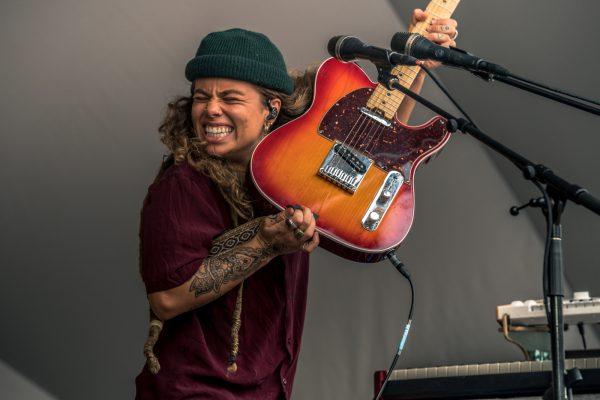 Musician, tash sultana plays at the Edmonton folk music festival
