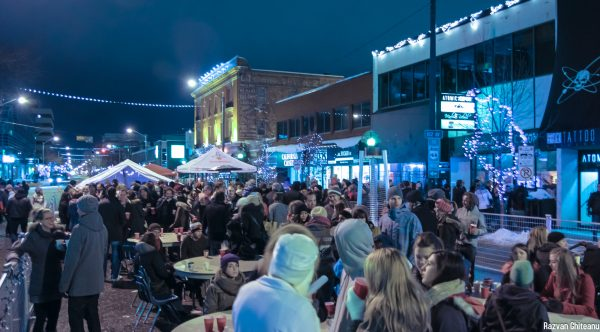 The beer gardens at the All is Bright festival