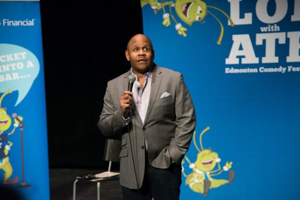 Rondell Sheridan performing stand up at the Edmonton Comedy Festival