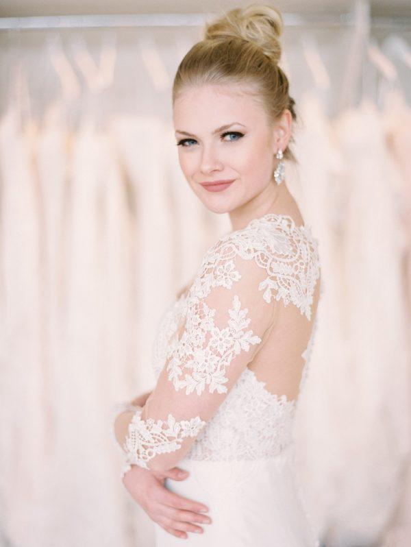 bride in wedding dress poses