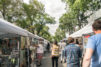 People browsing art stalls just off of Whyte Avenue at Art Walk