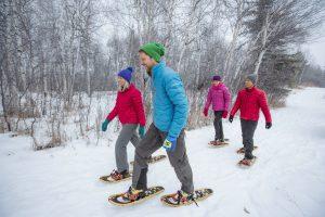 People Snowshoeing at Elk Island National Park