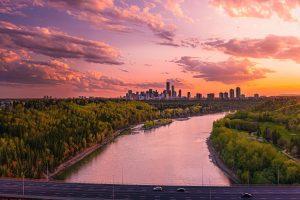 Edmonton Skyline at Sunset.
