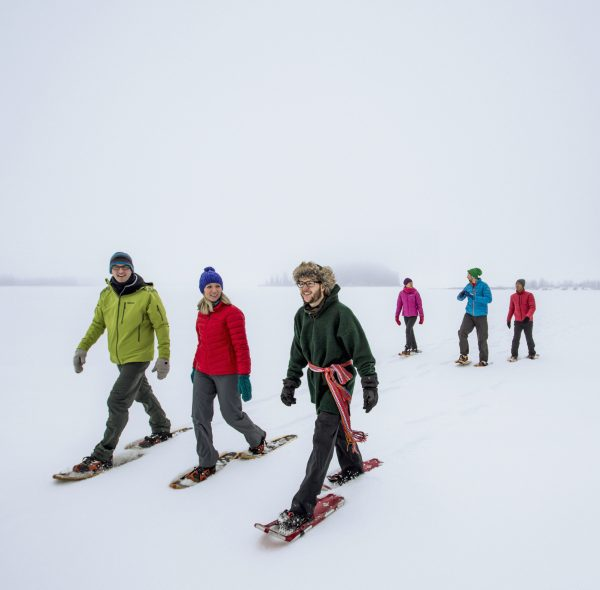 snowshoeing at elk island national park