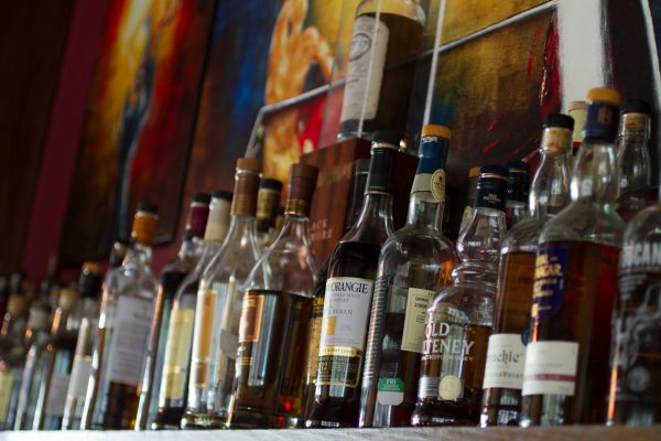 Line of bottles at the Bothy